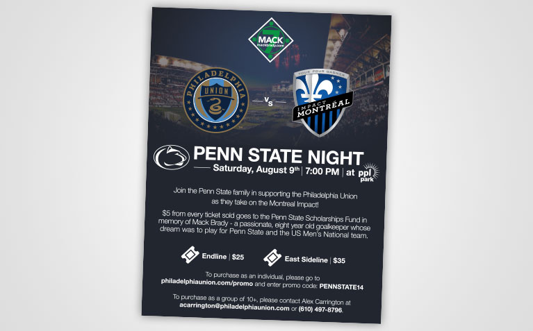 Philadelphia Union Penn State Night Flyer