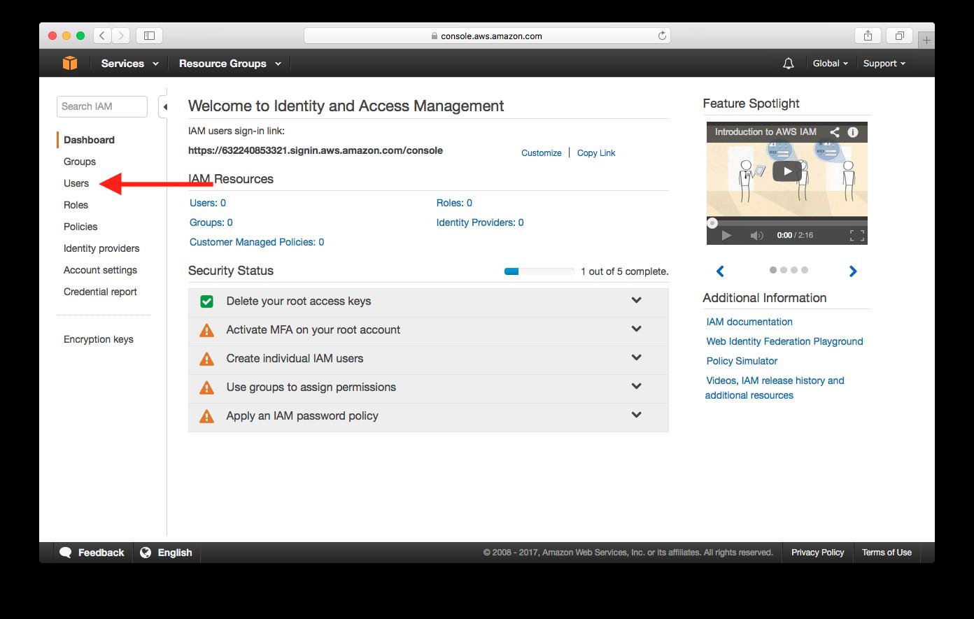 Select IAM Users Screenshot