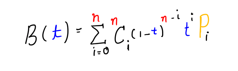 General formula for Bezier curve of degree n