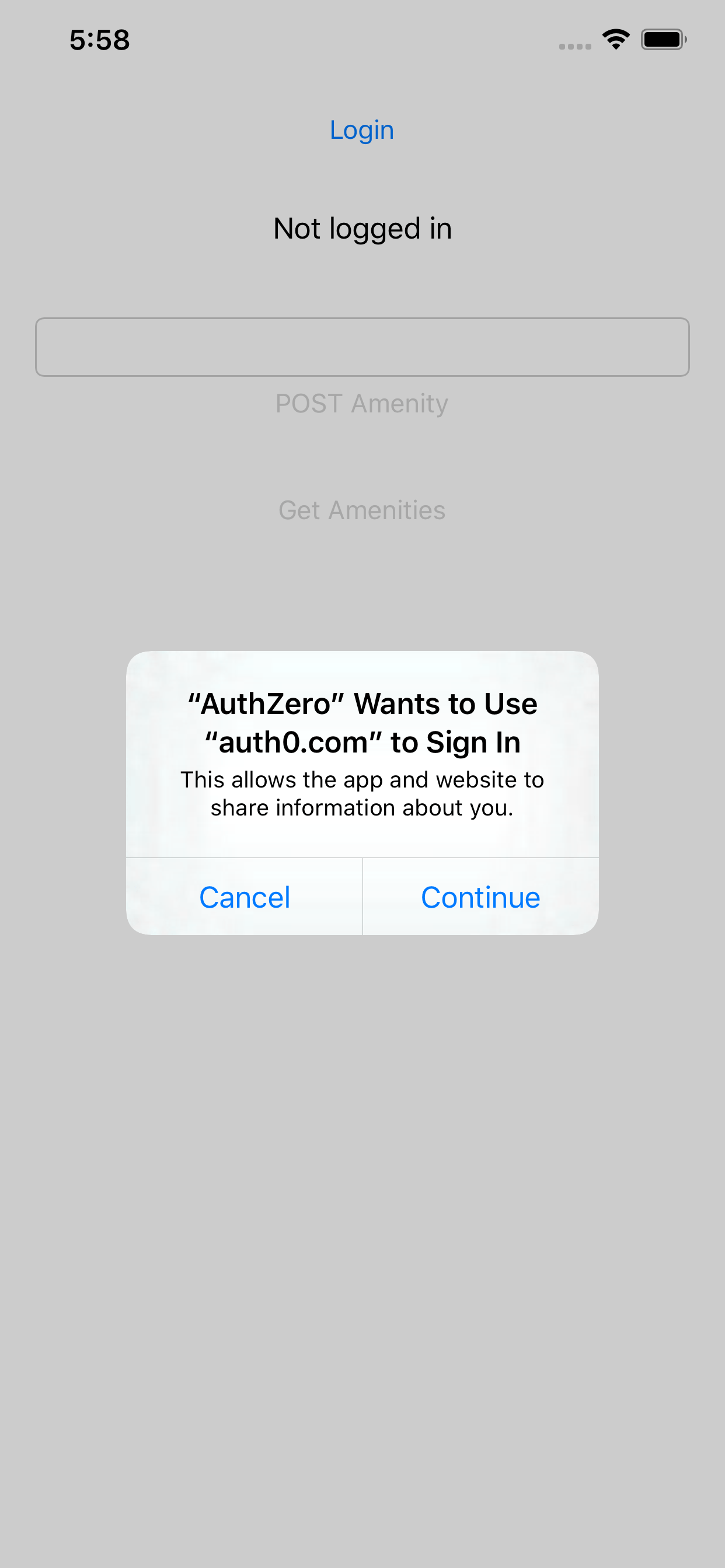 iOS permission prompt for Login