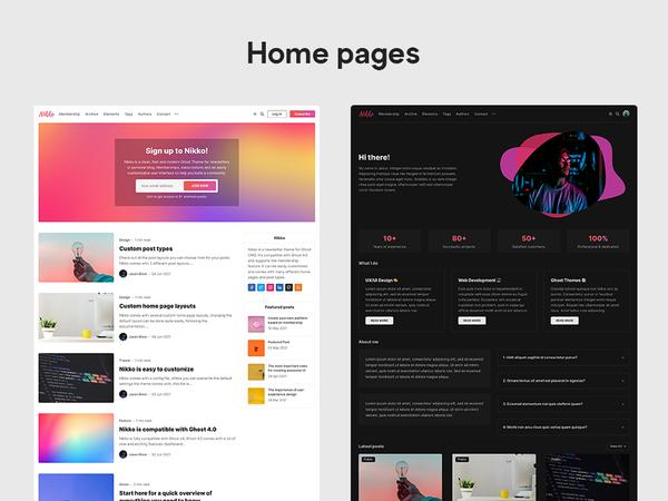 NikkoGhost Theme Home Pages