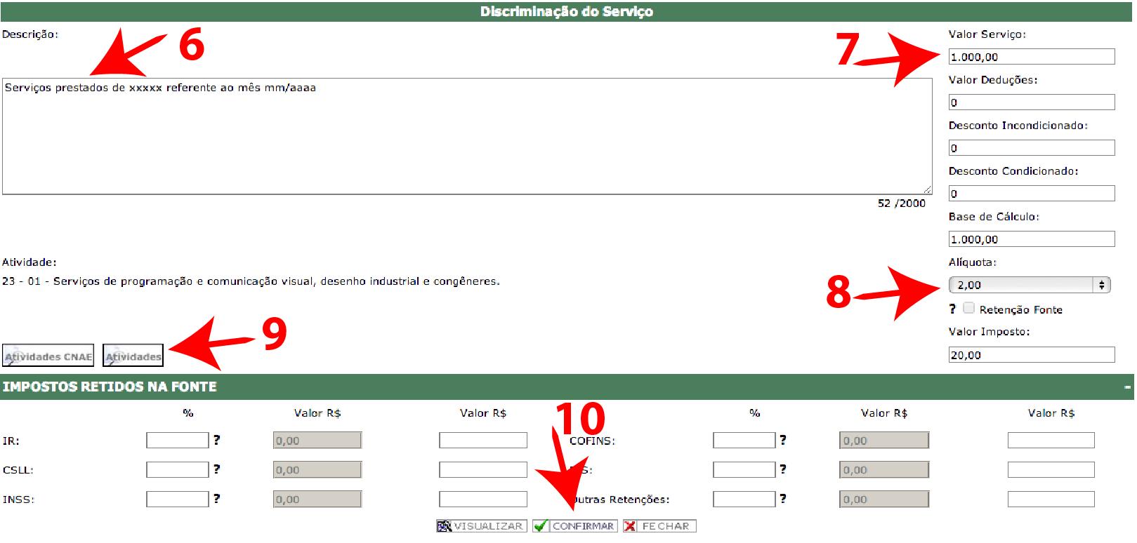 Passos 6, 7, 8, 9 e 10 de Como Emitir Boa Nota Fiscal - ISS Curitiba no simples nacional