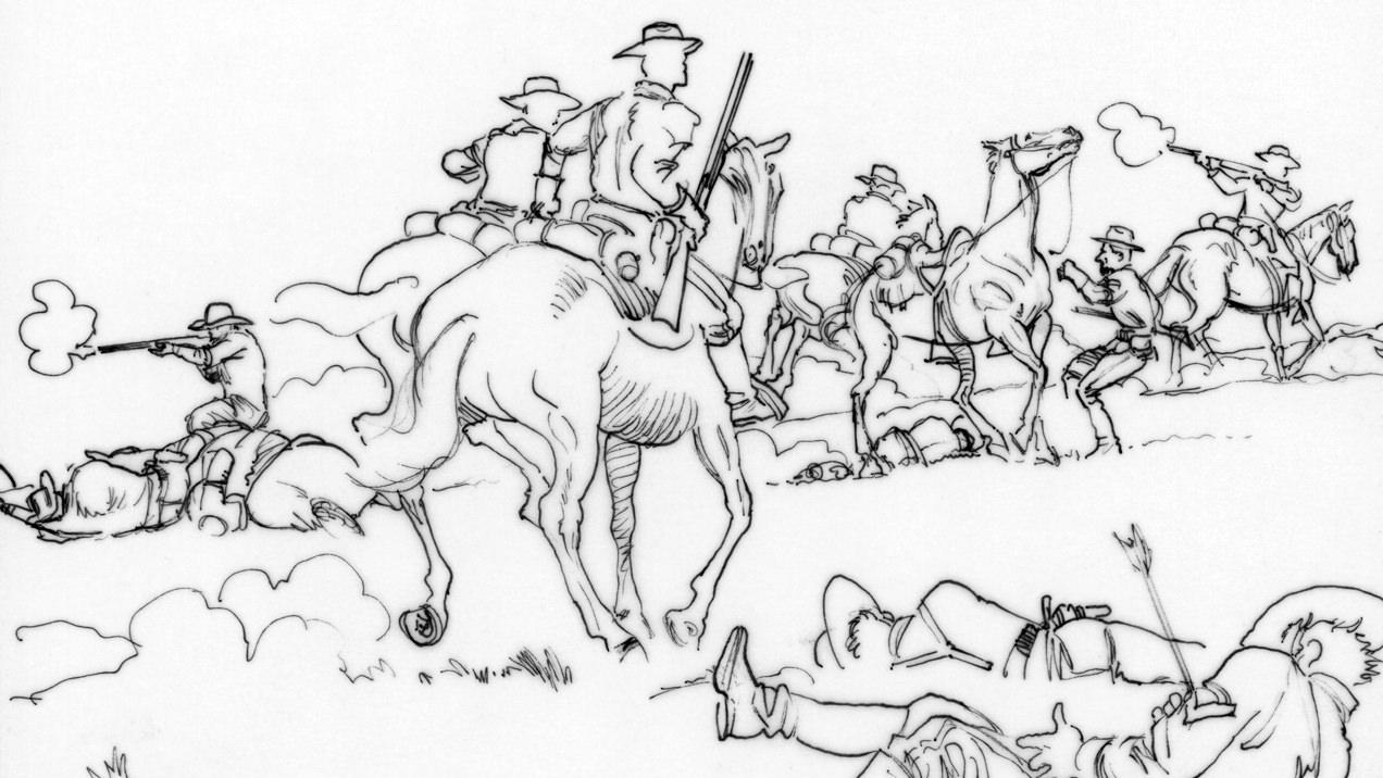 US Cavalry Museum storyboard panel — Little Bighorn Battle