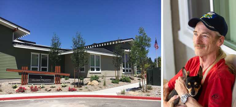 """Joseph Nevell, Navy. """"I like it here. I was lucky enough to apply before it opened and was here for the ribbon cutting. I walk around Virginia Lake and enjoy looking at nature."""""""