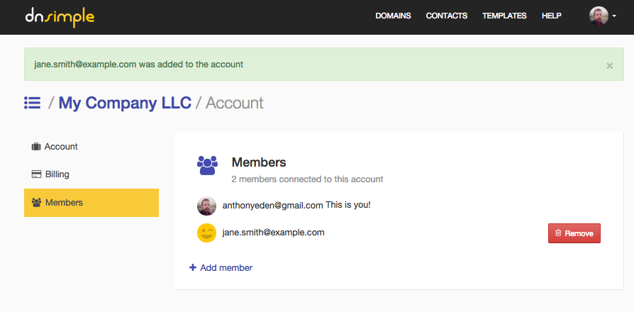 Account with new team member added