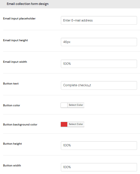 Email collection form design