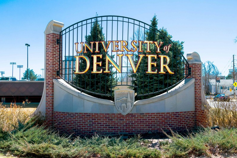 Entrance sign for the University of Denver