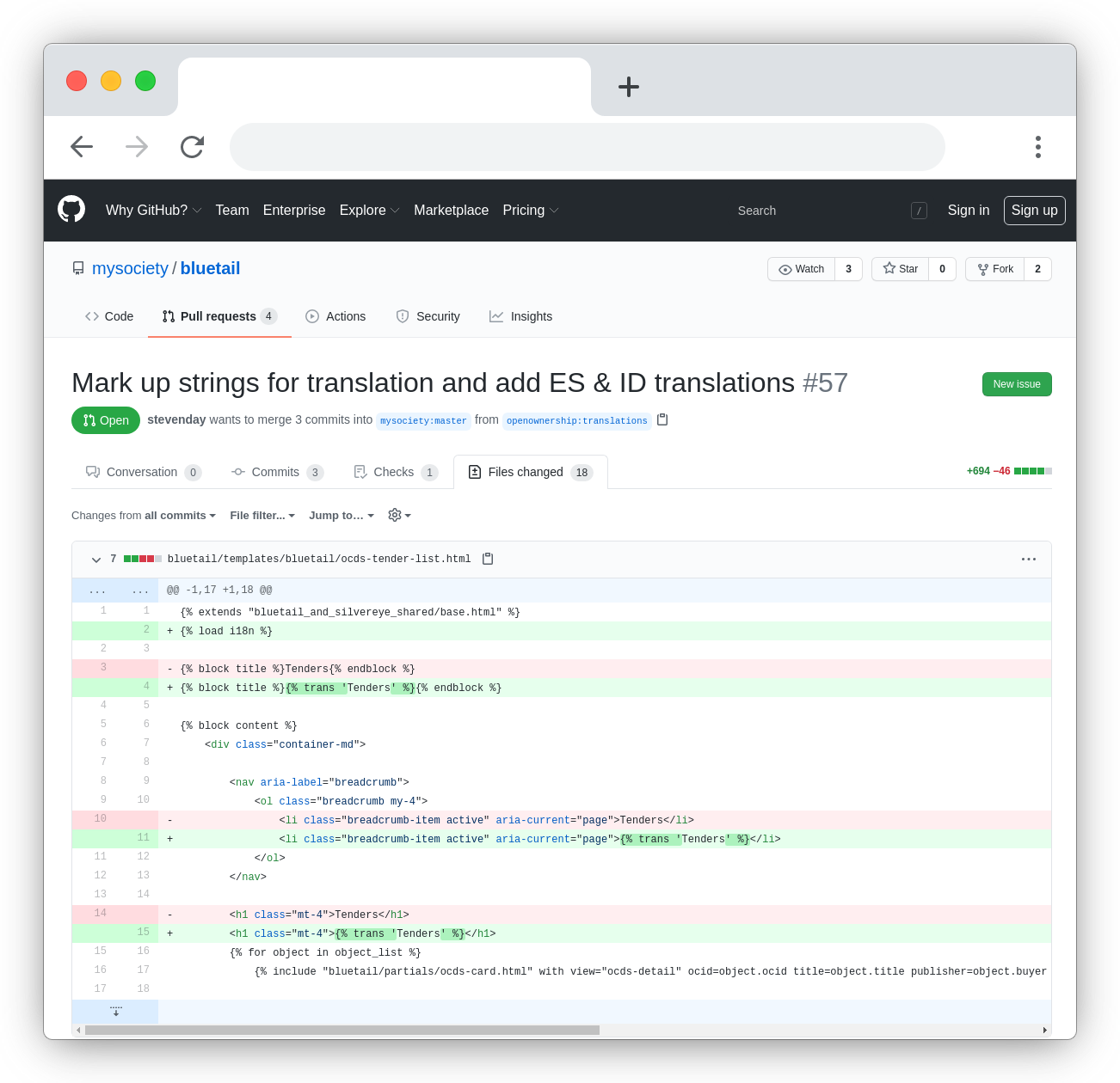 Screenshot of a GitHub pull request we've made to the Bluetail codebase