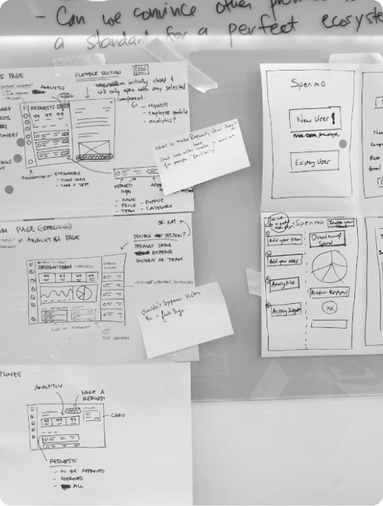 Wireframes placed on a whiteboad