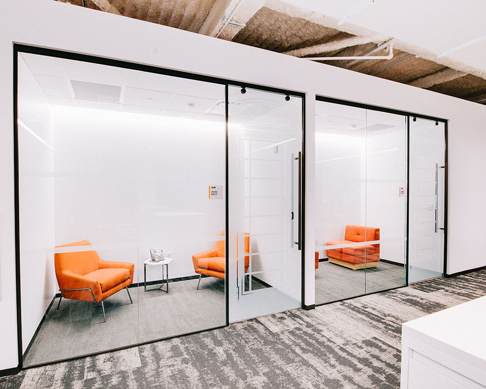 Small Office Rooms with Shoji Films on Glass Doors and Walls