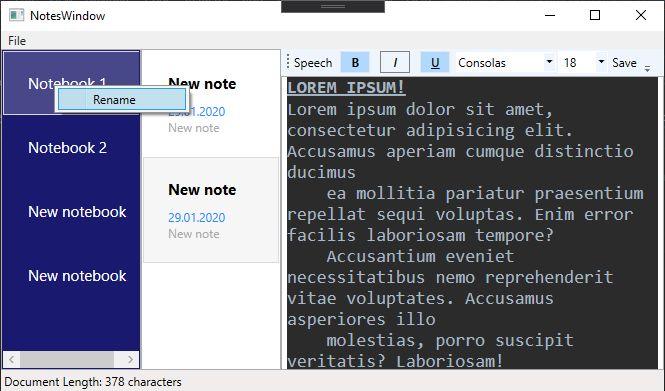 Notebook App WPF MVVC
