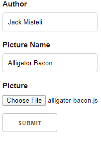 Input sample with author name Jack Misteli Picture Name Alligator Bacon and a picture file