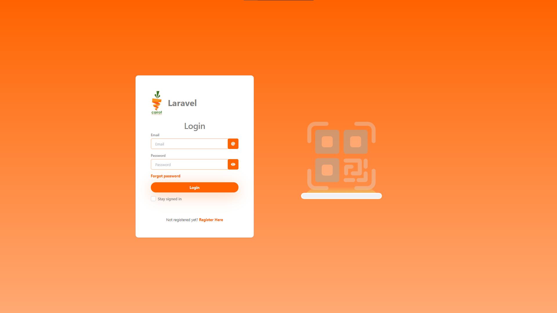 Tampilan halaman login Laravolt