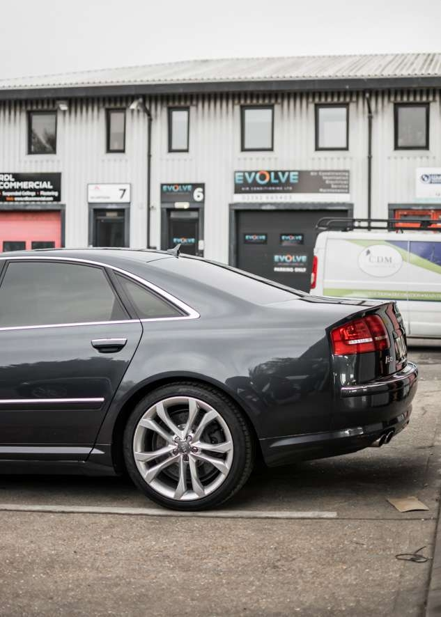 Audi s8 car with tinted windows from side