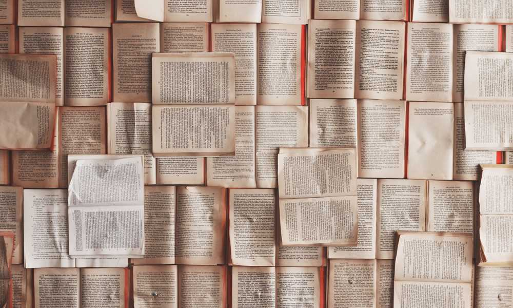 numerous books open on a board
