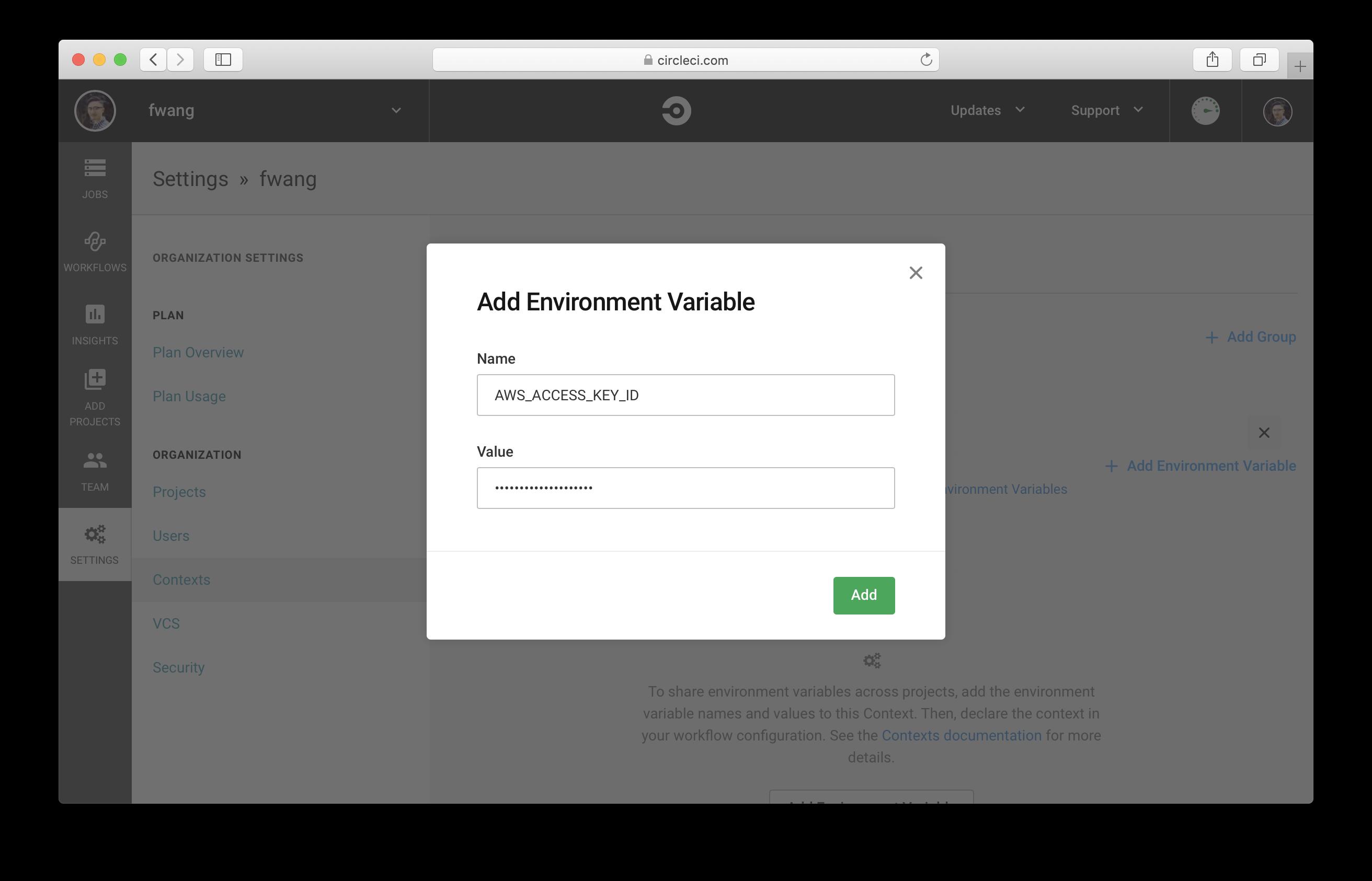 Add AWS Access Key Id as Environment Variable in CircleCI