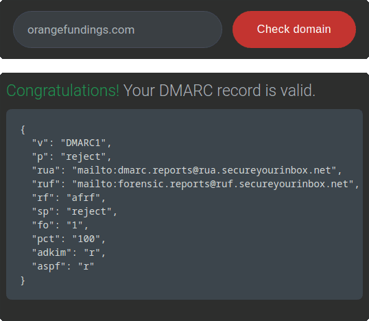 app search bar component indicating if DMARC record is valid