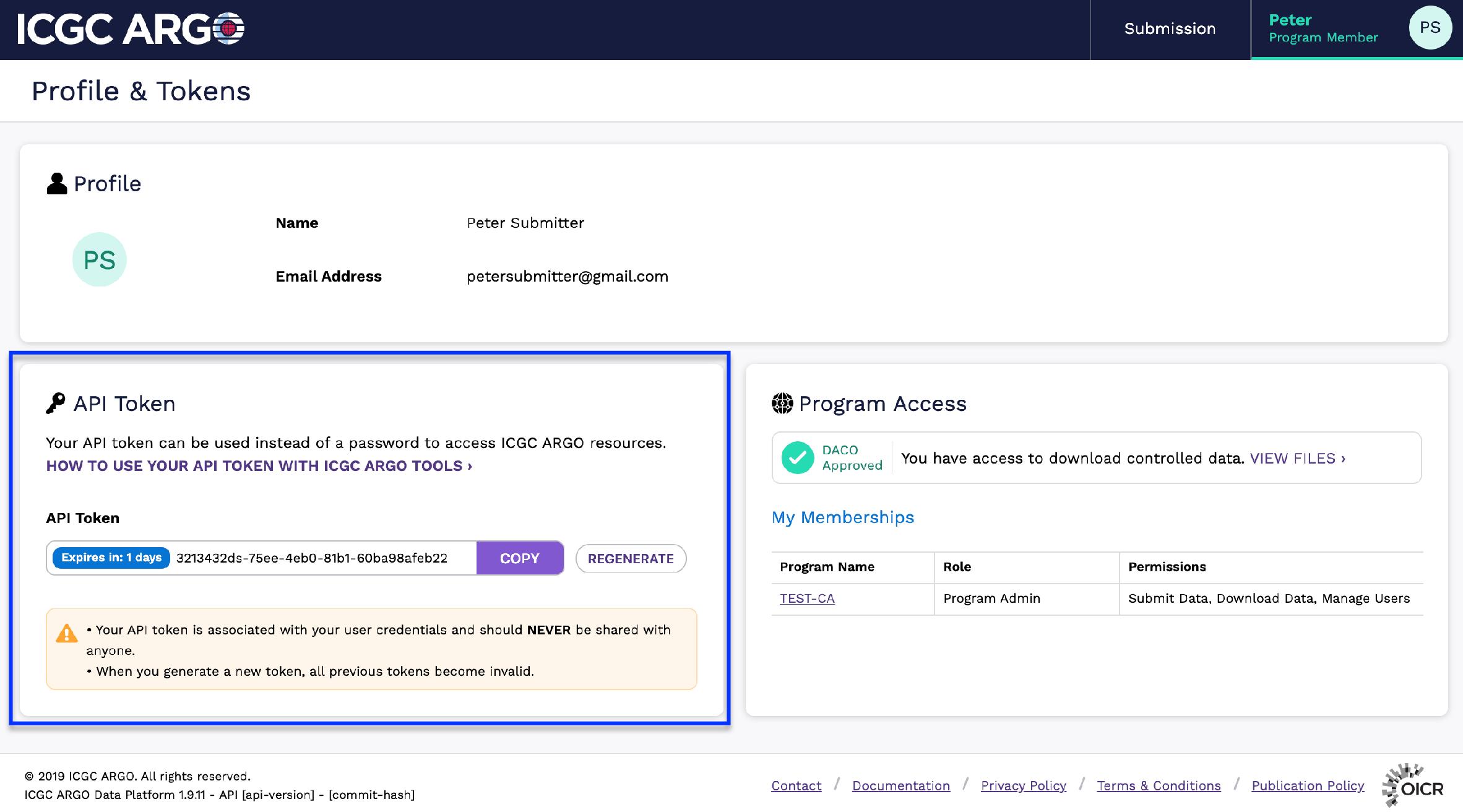 Profile API Token