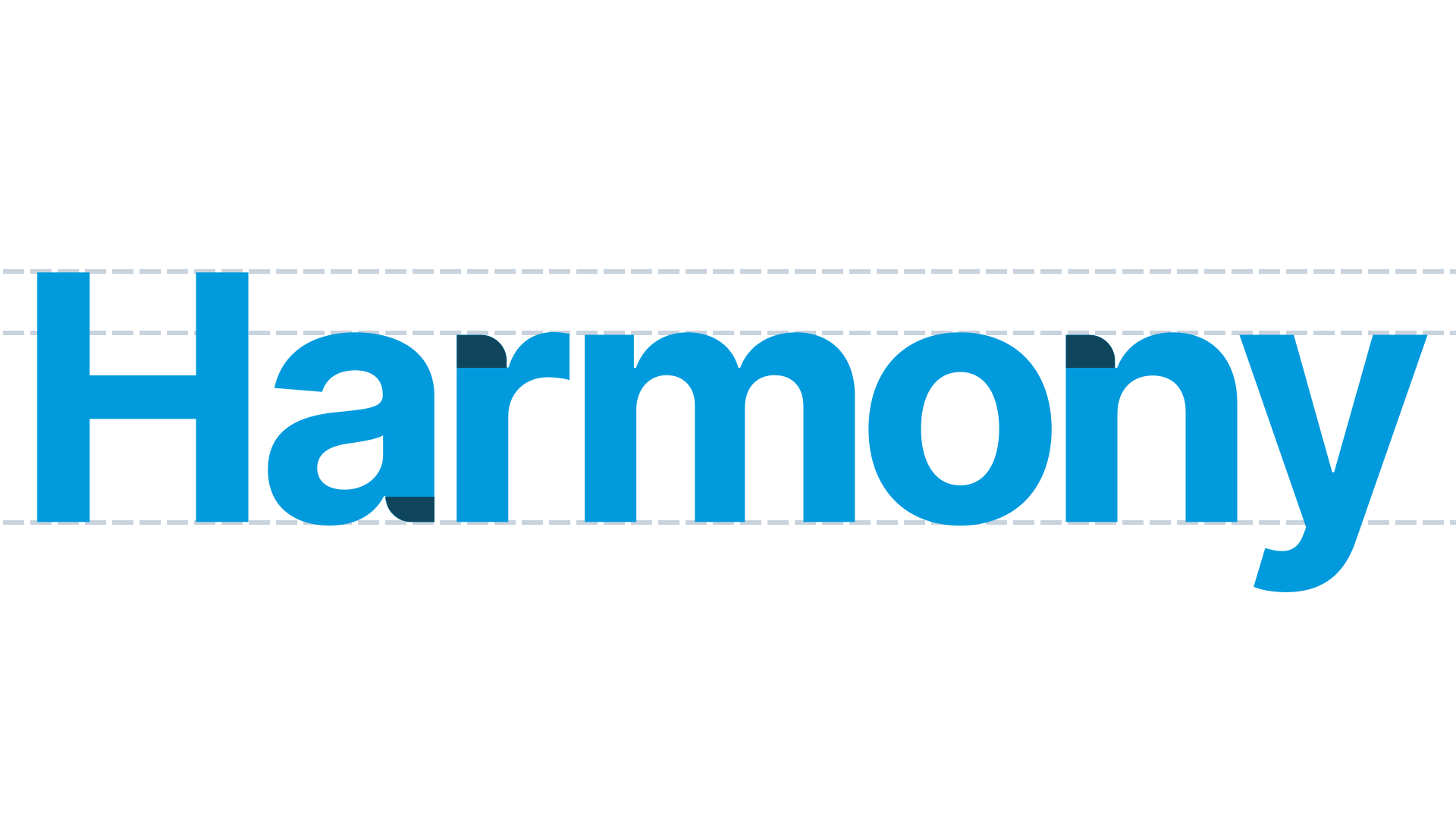 Highlighted typography adjustments in the Harmony Health wordmark.