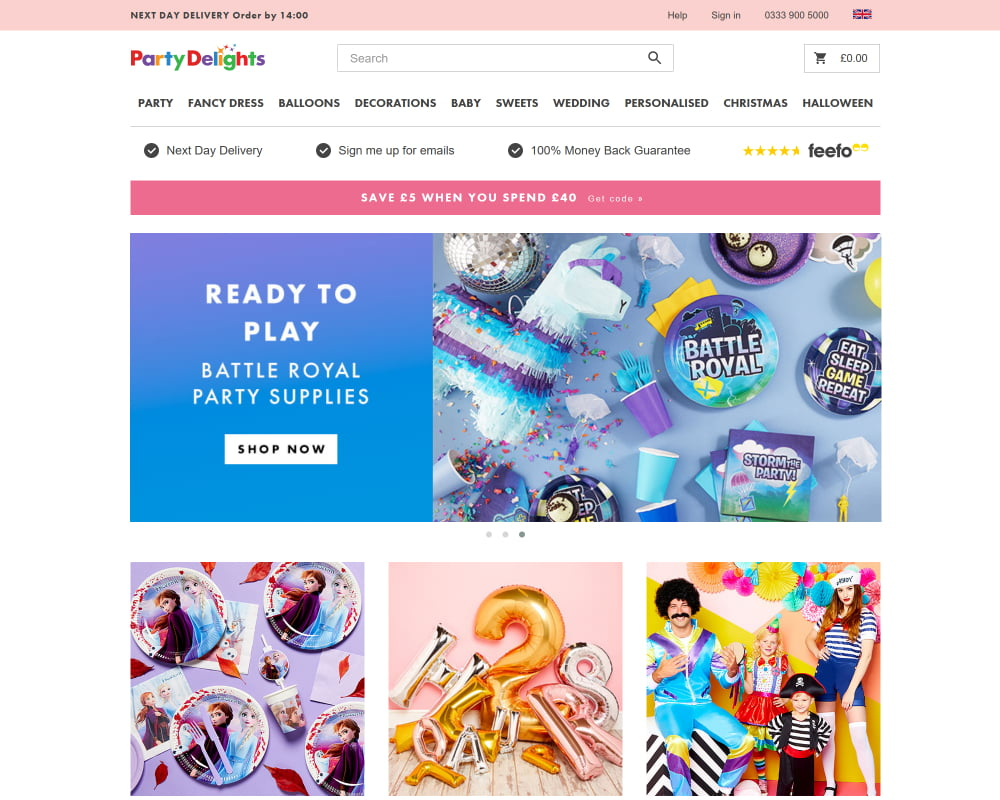 Party Delights website with new pink header and less spam text on the page