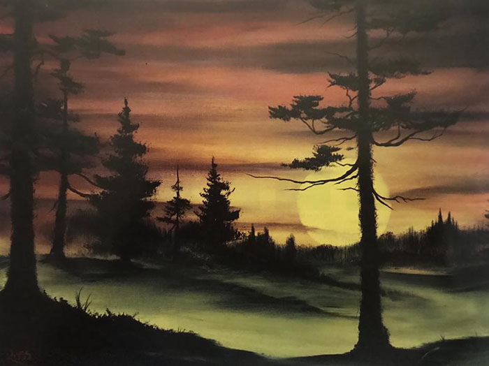 Evergreens at Sunset workshop preview painting