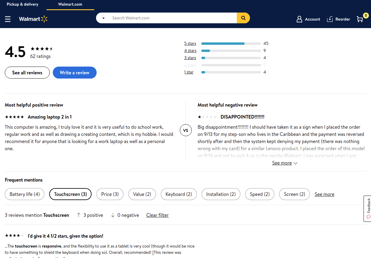 Product Attribute Extraction in use on Walmart's website