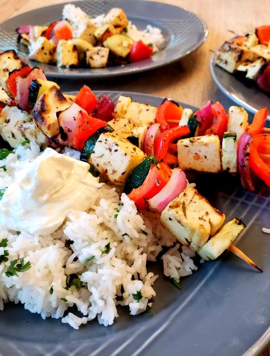 Mediterranean Skewers with Tofu & Vegetables