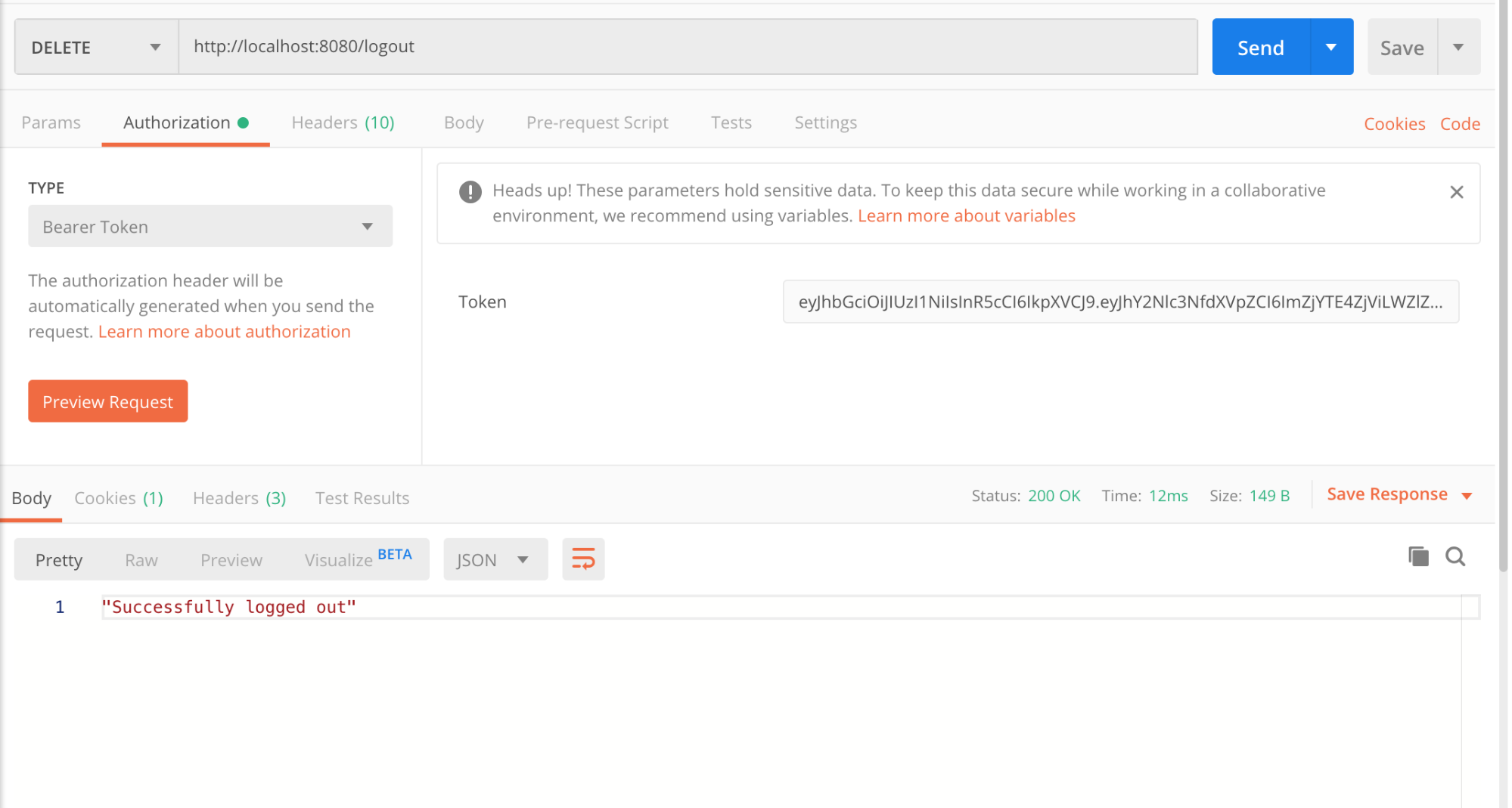 Log out request using Postman