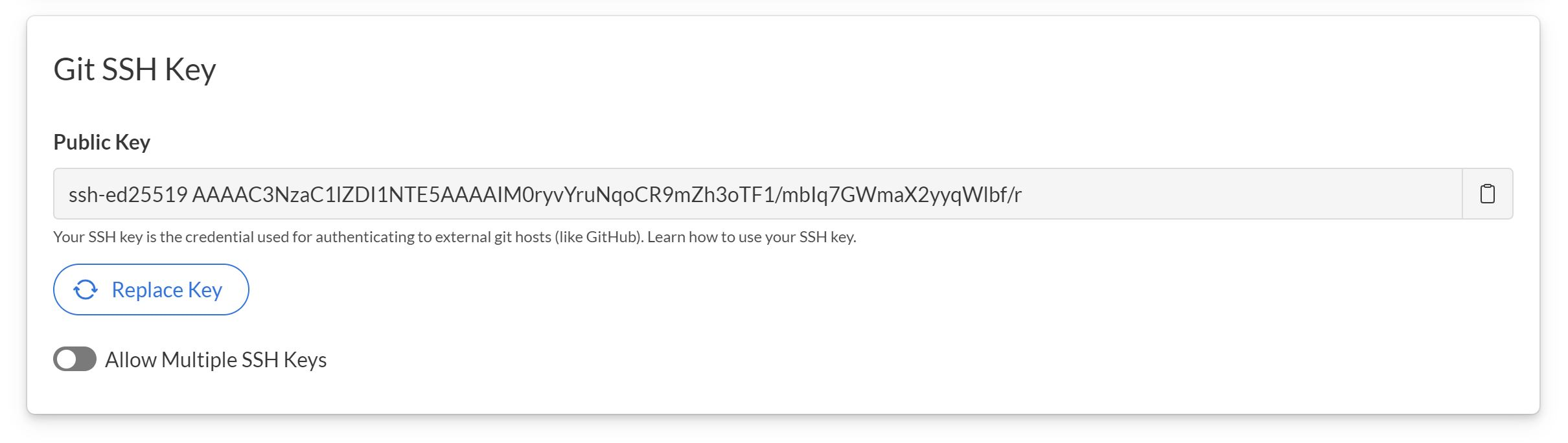Git SSH key UI