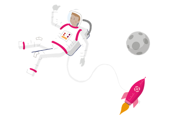 Man in a spacesuit floating outside an Onvestor rocket