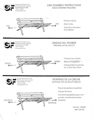 General Foam Plastics Crib Assembly Instructions Instruction Manual.pdf preview