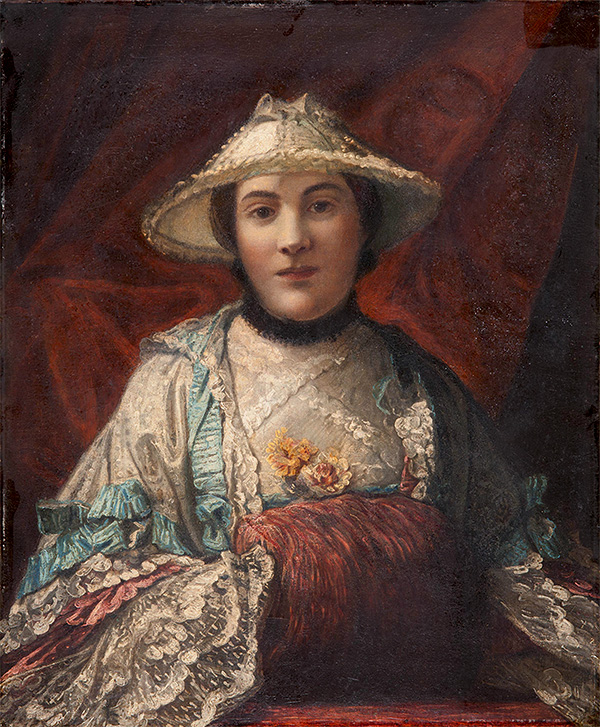 Portrait of a woman with silk and lace trimmed sleeves wearing a bonnet and sitting against a draped background.