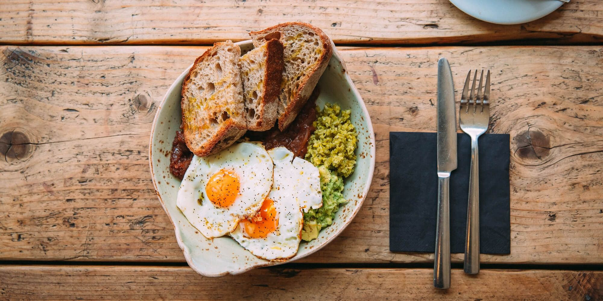 Piquillo peppers & red onion in a home-made sauce, smashed avocado, guindilla relish, 2 fried eggs & toasted sourdough