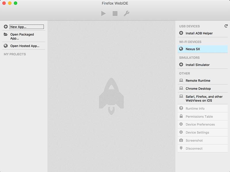 ชื่อ device ที่เปิดตัวเลือก **Remote debugging via Wi-Fi** ไว้ ก็จะขึ้นมาอยู่ด้านขวามือของหน้าต่าง WebIDE