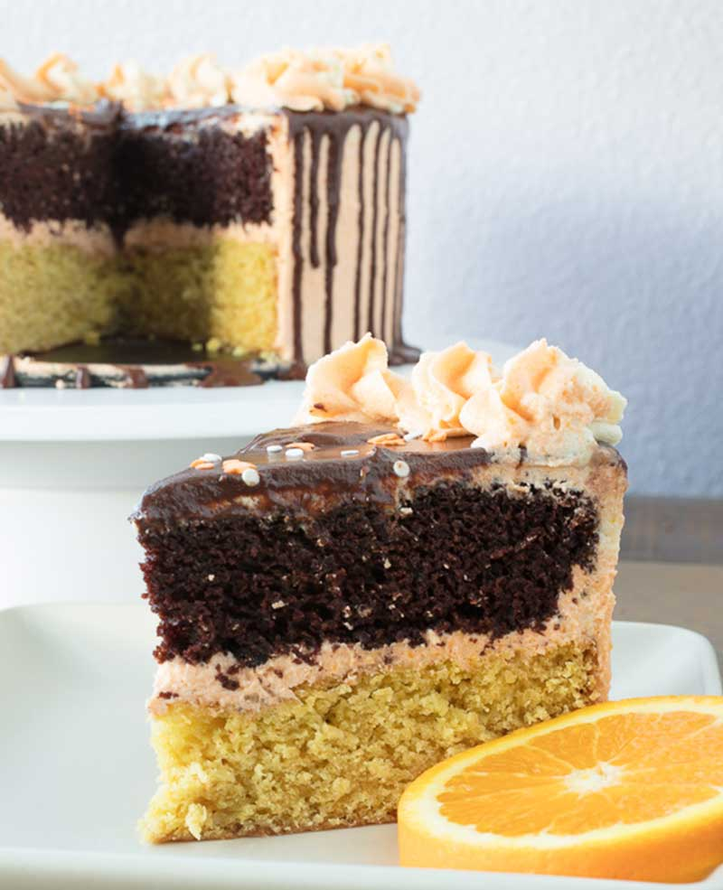 Vegan chocolate orange cake sliced