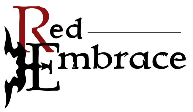 Red Embrace (logo 1, black text)