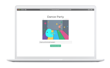 Mockup of a Macbook with the Scratch Project Viewer website displaying a sample Dance Party Scratch project.