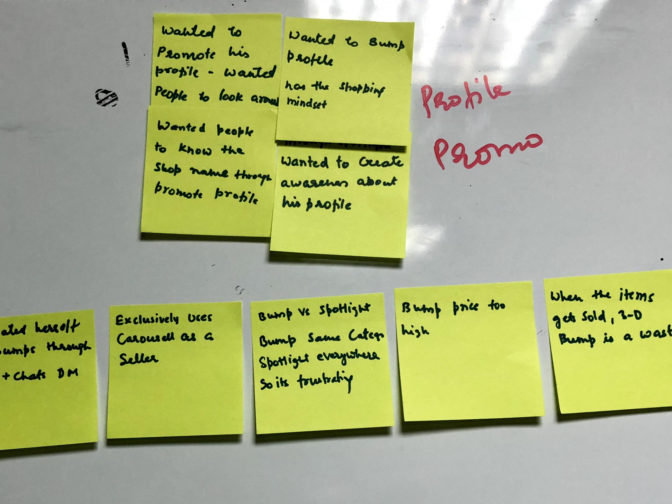 Sticky notes from one of the research