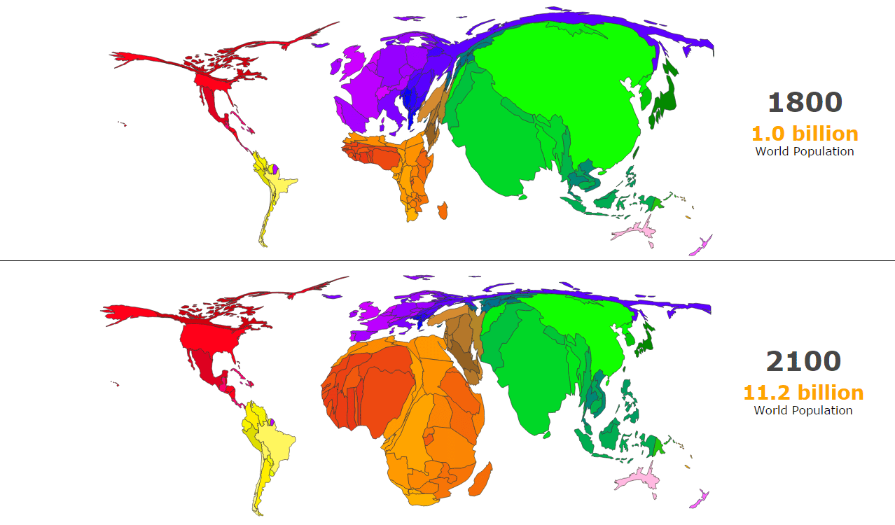 A cartogram showing world population change between 1800 and 2100