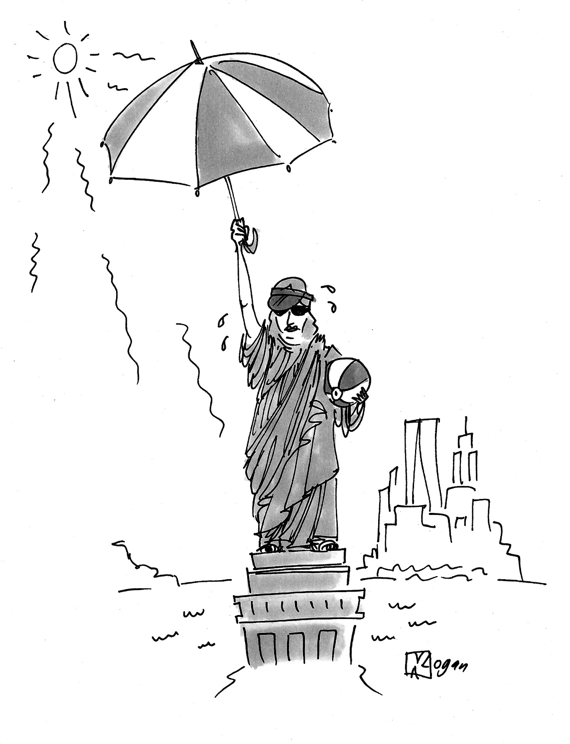 (The Statue of Liberty is holding a parasol and beach ball.)