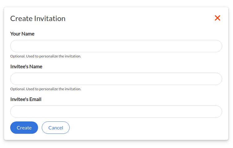 Screenshot of Saturn Cloud Create Invitation form