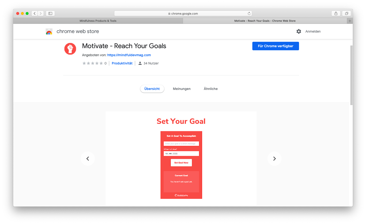 screenshot of the store entry of the motivate chrome extension