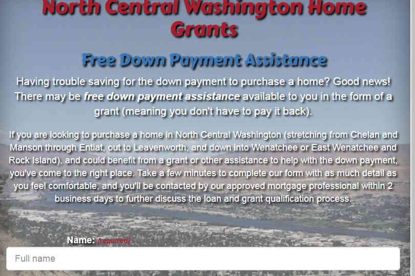 cropped screenshot of NCW Home Grants website