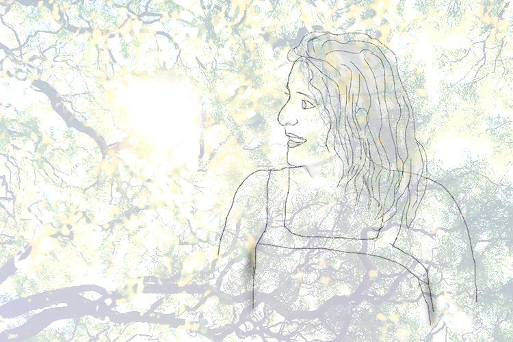 Portrait dessiné d'une femme qui regarde sur le côté, vers l'horizon. Arrière plan d'arbres.