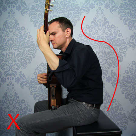 Guitariste qui voûte le dos
