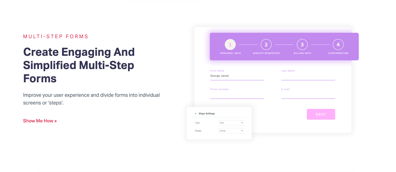 Elementor product page for Multi-Step Forms