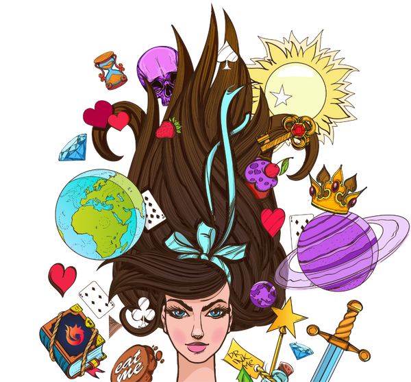 Alice in Wonderland-esque illustration