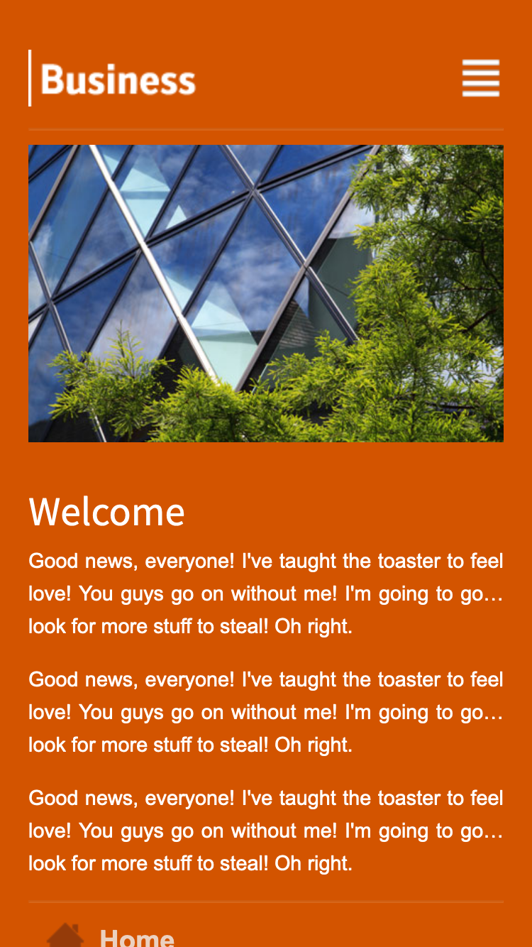 Screenshot of Pumpkin Business Mobi mobile website template