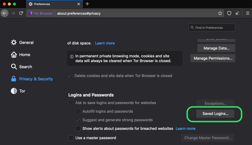 Tor Saved Passwords