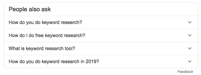 Keyword research search query showing other Google suggested search queries.